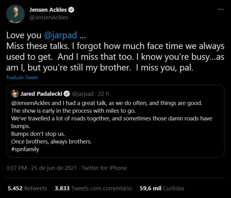 Jensen Ackles responde Jared Padalecki em Twitter - legadoplus