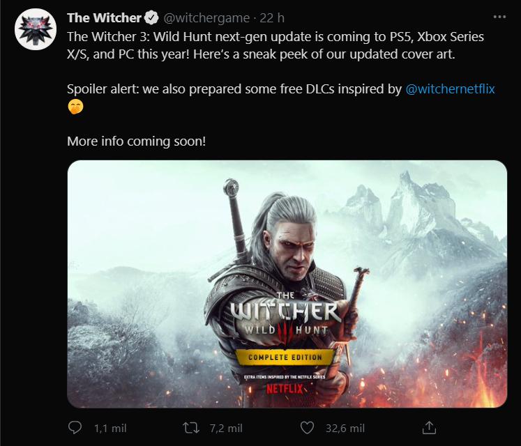 Tweet da CD Projekt Red falando sobre The Witcher 3 em consoles - legadoplus